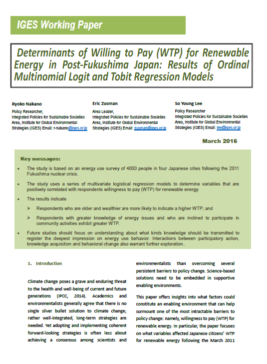 Determinants of Willing to Pay (WTP) for Renewable Energy in