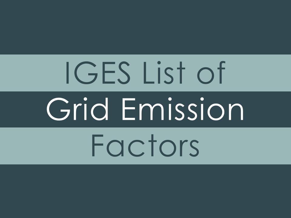 IGES List of Grid Emission Factors | IGES