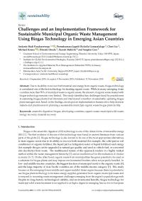Challenges and an Implementation Framework for Sustainable Municipal Organic Waste Management Using Biogas Technology in Emerging Asian Countries