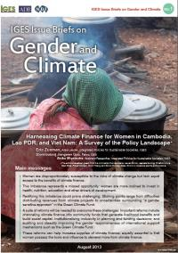 Harnessing Climate Finance for Women in Cambodia, Lao PDR, and Viet Nam: A Survey of the Policy Landscape
