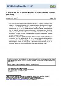 A Report on the European Union Emissions Trading System(EU-ETS)