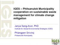 IGES – Phitsanulok Municipality cooperation on sustainable waste management for climate change mitigation