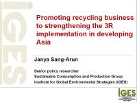 Promoting recycling business to strengthening the 3R implementation in developing Asia
