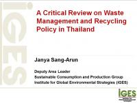 A Critical Review on Waste Management and Recycling Policy in Thailand