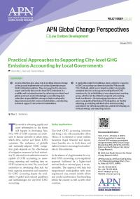 Practical Approaches to Supporting City-level GHG Emissions Accounting by Local Governments
