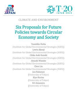 Six Proposals for Future Policies towards Circular Economy