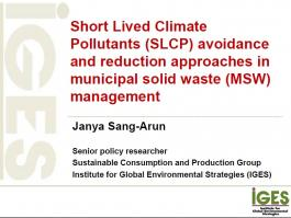 Short Lived Climate Pollutants (SLCP) avoidance and reduction approaches in municipal solid waste (MSW) management
