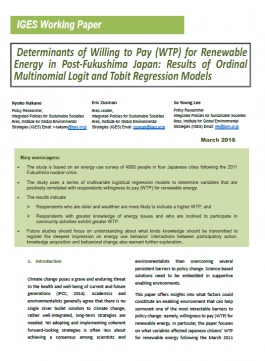 Determinants of Willing to Pay (WTP) for Renewable Energy in Post-Fukushima Japan: Results of Ordinal Multinomial Logit and Tobit Regression Models